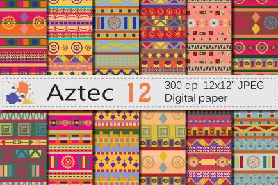 Aztec Digital Paper / Bright ethnic tribal geometric papers