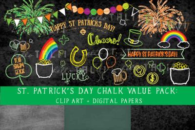 ST PATRICK'S DAY CHALKBOARD CLIPART + DIGITAL PAPER