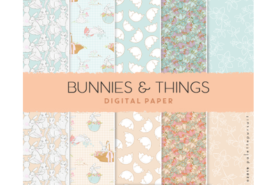 Easter digital paper patterns, Easter bunny patterns, Spring paper