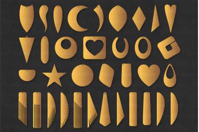 Earring SVG Bundle, 35 Earrings Template Cut Files