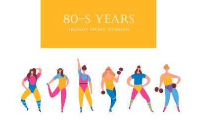 80-s years trendy sport womens