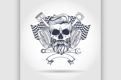 Racer skull with helmet