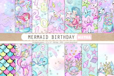 MERMAID BIRTHDAY digital papers