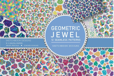 Geometric Jewel Seamless Pattern Set