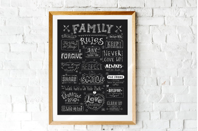 Family rules banner,cute poster