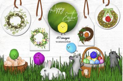Easter !Happy spring! Watercolor clip art set