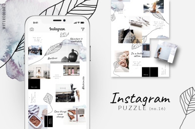Instagram PUZZLE template - Watercolor 2