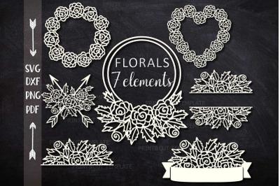 Florals Flowers Monograms, Border, Arrows elements bundle cut out svg
