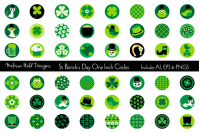 Saint Patricks Day One Inch Circles