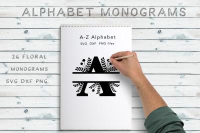 Split Floral Alphabet Monograms - SVG DXF PNG