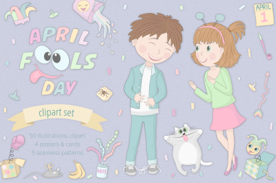 April Fool's Day Illustration Set