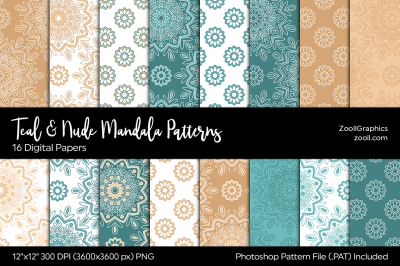 Teal & Nude Mandala Digital Papers