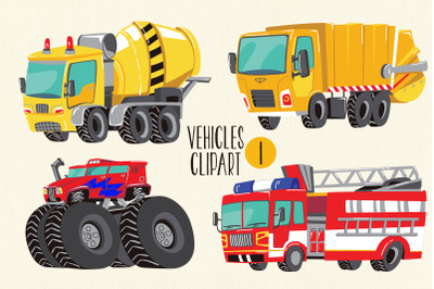 Cars and Trucks Clipart, Fire Truck Clipart, Monster Truck, Concrete T