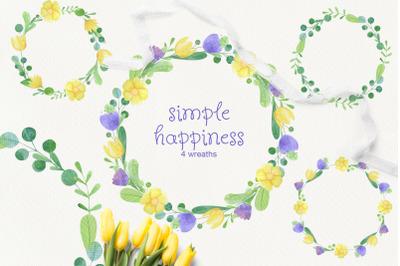 Simple happines. Set of 4 watercolor wreaths