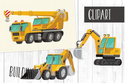 Building Clipart PNG, Tractor, Excavator, Truck