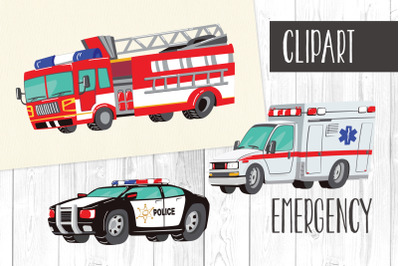 Emergency Clipart, Fire Truck,Taxi,Police Car,Ambulance
