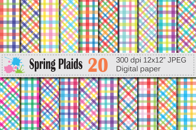 Bright spring plaid digital paper / Colorful plaid backgrounds