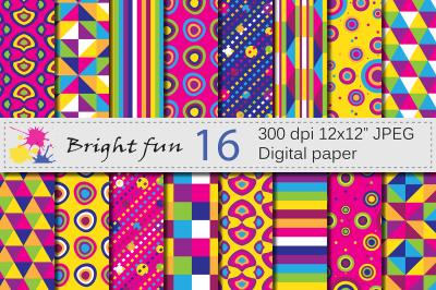 Bright geometric digital papers /Colorful backgrounds