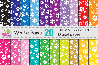 White paws digital paper / Colorful animal backgrounds