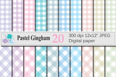 Pastel Gingham Digital Papers / Gingham pattern backgrounds