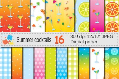 Summer Cocktails Digital Paper &2F; Bright summer backgrounds