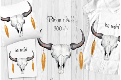 Bison skull. Digital print