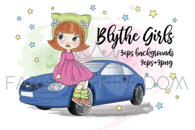 BLYTHE GIRLS Doll Cartoon Baby Vector Illustration Set for Print