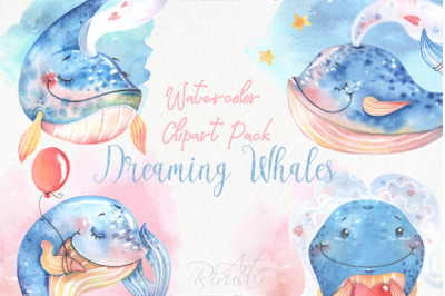Watercolor cute baby whales clipart pack
