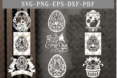 Bundle Of 9 Happy Easter Papercut Templates, Egg Hunter Design SVG PDF