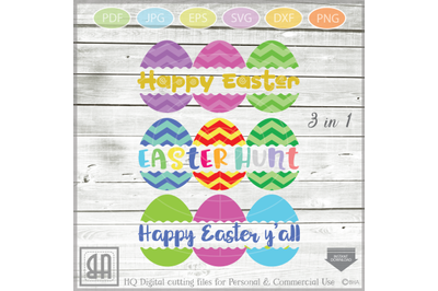 Easter Eggs monogram SVG, Split Easter Eggs, Egg Cut file