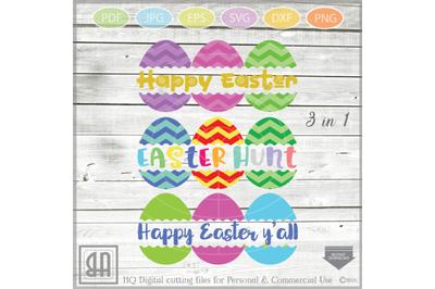Easter Eggs monogram SVG, Split Easter Eggs, Egg Cut file