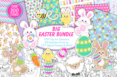 Easter clipart bundle, Easter bunny graphics & illustrations