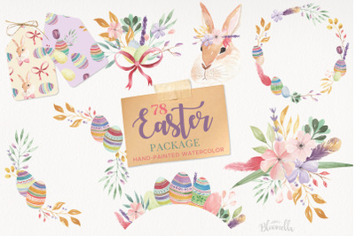 Easter Egg Bunny Clipart Package HUGE Spring Frames Patterns Kit