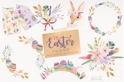 Easter Egg Bunny Clipart Package HUGE Spring Frames Patterns Kit