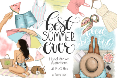 Best Summer Ever Clipart Design Kit