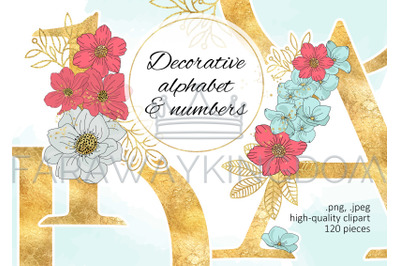 BLOOM Gold Floral Decorative Alphabet Vector Illustration Set