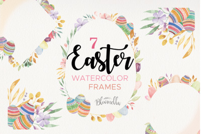Easter Egg Frames Borders Pastel Watercolours Flowers Floral Spring