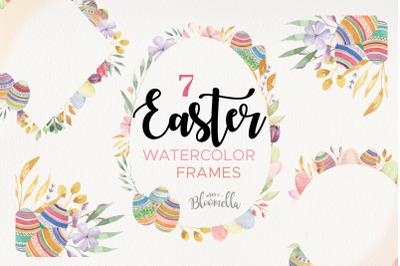 Easter Egg Frames Borders Pastel Watercolours Flowers Floral Spring