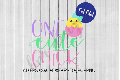 Easter SVG, One Cute Chick, SVG File, DXF File