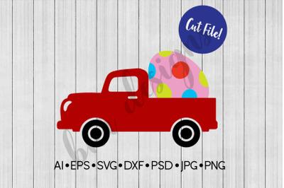 Easter SVG, Vintage Truck SVG, SVG File, DXF File