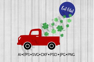 St Patrick's Day SVG, Vintage Truck SVG, SVG File, DXF File