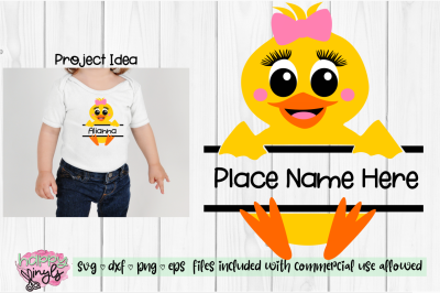 Baby Duck Personalize Design GIRL- An Easter SVG