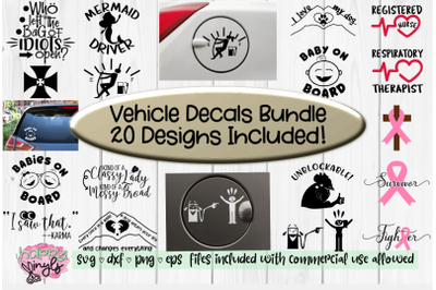 Vehicle Decals Bundle of 20 - A Car and Truck Decals Bundle