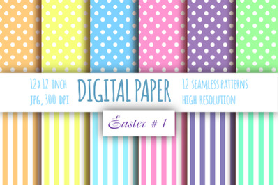 12 Polka dot and Stripes scrapbook paper