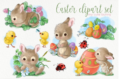 Easter bunnies set for kids and babies decor