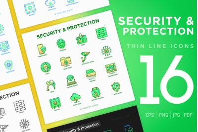 Security Protection | 16 Thin Line Icons Set