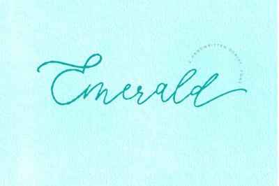 Emerald, imperfect modern calligraphy script