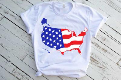 Map United States Flag Svg USA 50 States america 1287s