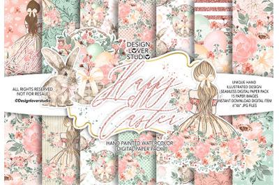 Happy Easter Girl digital paper pack