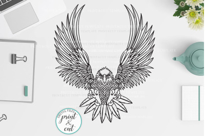 Cut out Flying Eagle svg dxf pdf png cutting template